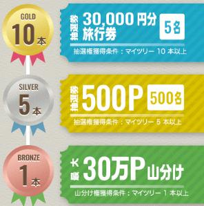 旅行券3万円分当たる