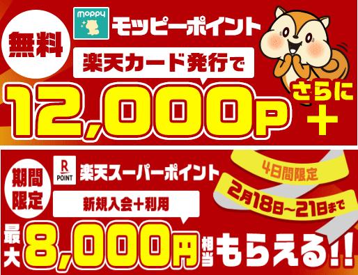 楽天カード発行で12000円